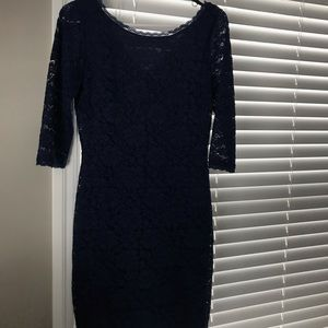 Navy blue lace cocktail dress with gold zipper